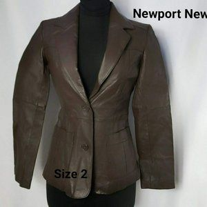 Newport News Leather & Suede Brown Jacket